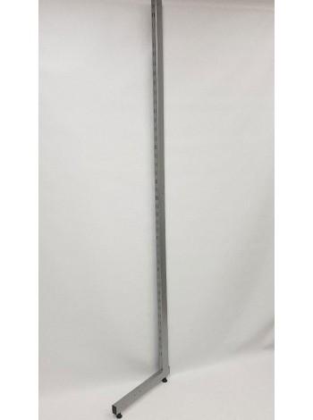 Рейка-опора пристенная 220см с двойной перфорацией закрытая металлик