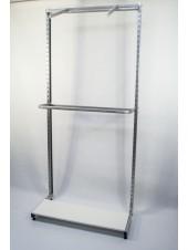 Стеллаж торговый пристенный с двумя флейтами, дугой и полкой. (металлик)