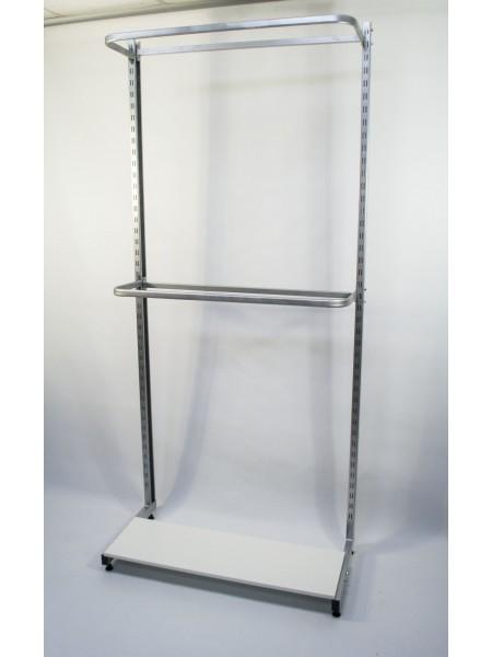 Стеллаж торговый пристенный с двумя дугами и полкой. (металлик)