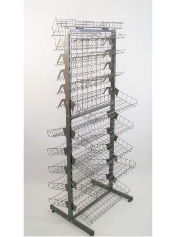 Стеллаж модульный двухсторонний с сеткой,крючками, корзинами и полками графит , 180х60 см.