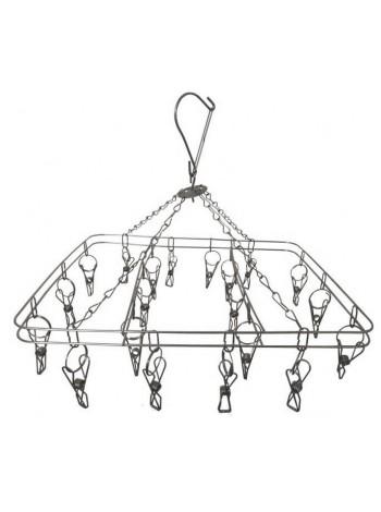 Вешалка-вертушка металлическая квадратная 20 прищепок
