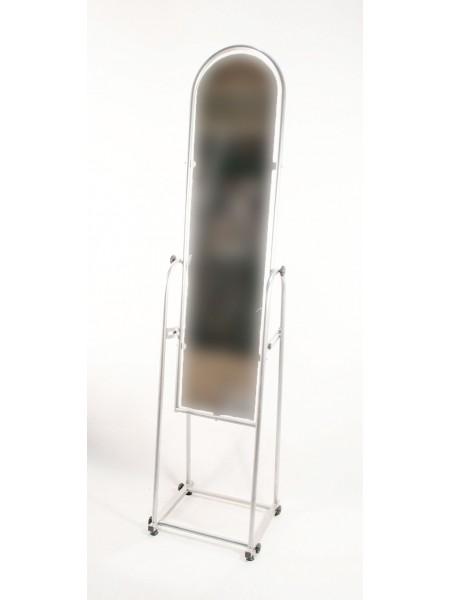 Зеркало напольное узкое в металлической раме 25 см белое