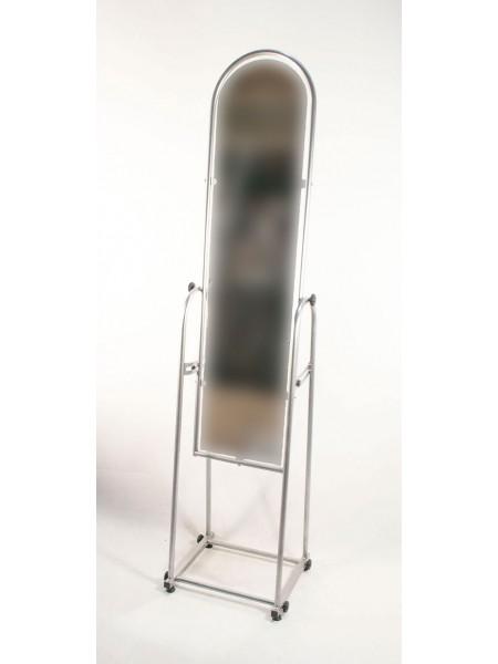 Зеркало напольное узкое в металлической оправе 25см серый металлик