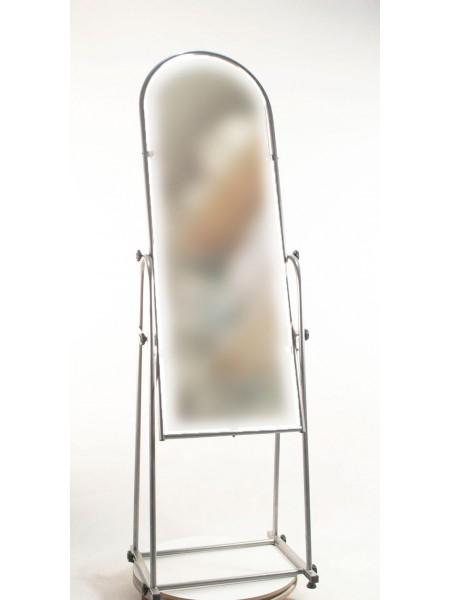 Зеркало напольное в металлической оправе 38см. металлик