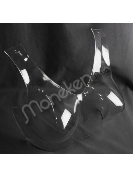 """Манекен пластиковый обьемный  прозрачный для презентации белья """"Бюст с лямками"""" GPPS1"""