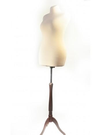 Манекен портновский Любовь 48 размер в бежевой ткани на деревянной подставке