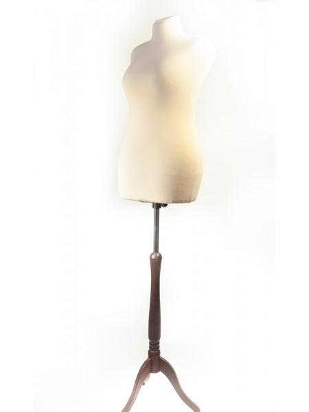 Манекен мягкий для шитья Любовь 52 кремовый на треноге из дерева