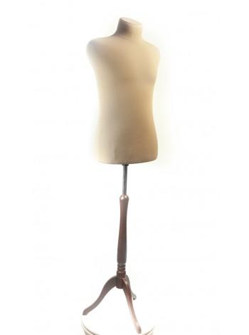 Манекен мужской портновский телесного цвета Пьер 48 размер кремовый с деревянной треногой