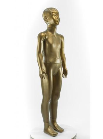 Манекен детский пластмассовый в полный рост школяр бронзовый золотистый без подставки