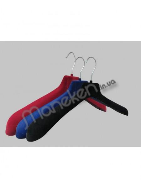 Плечики пластиковые с обьемными плечами и бархатным покрытием ВОП 47/6( флокированные) 47 см.