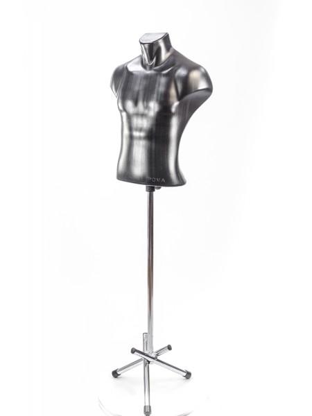 Манекен мужской пластиковый черный Рома на треноге