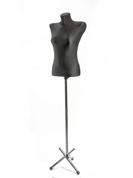 Манекен выставочный черного цвета Наташа в ткани на треноге