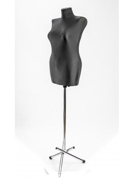 Манекен выставочный Катя на треноге 44 размер в ткани черный